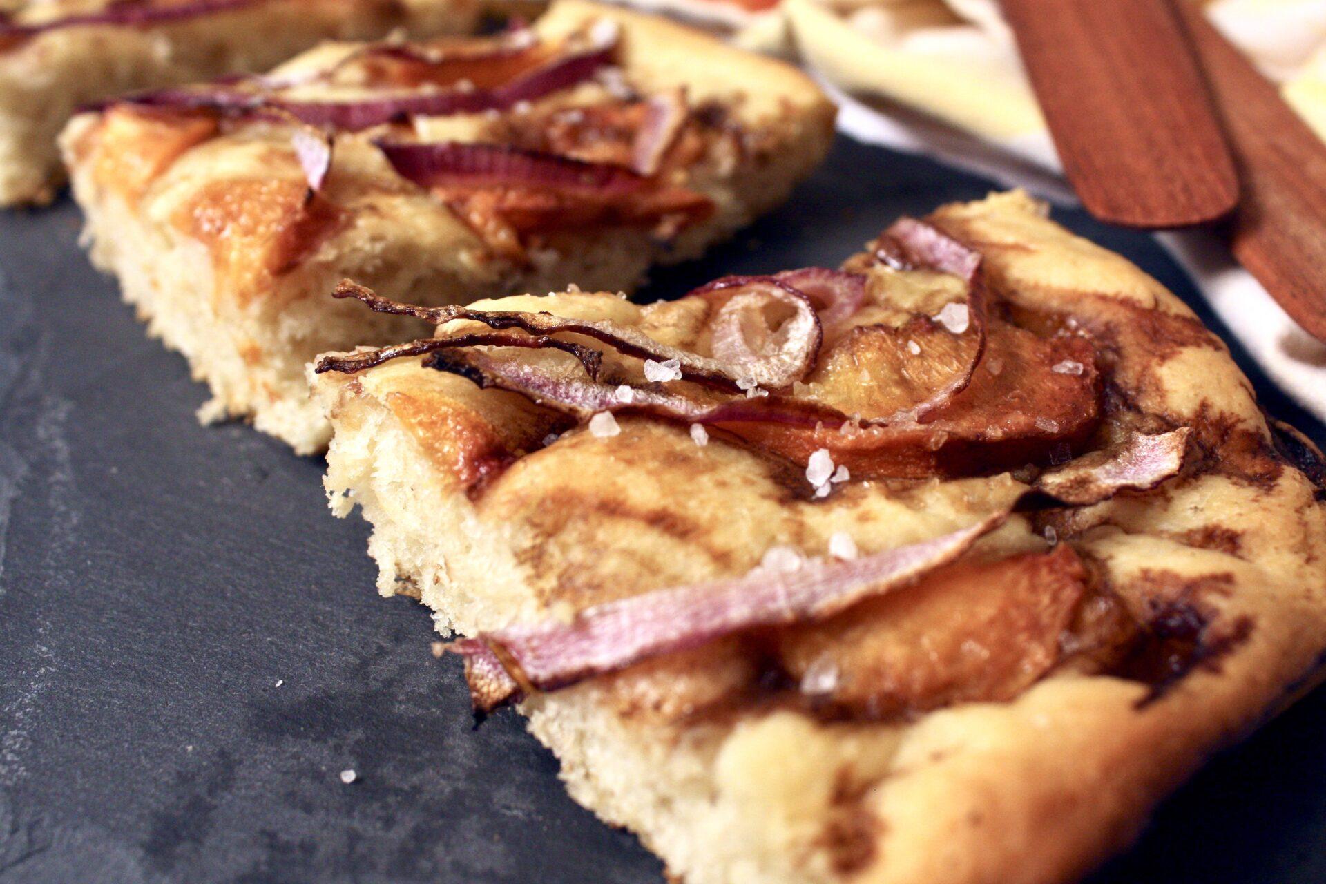 Piece of Balsamic Peach & Red Onion Focaccia Bread