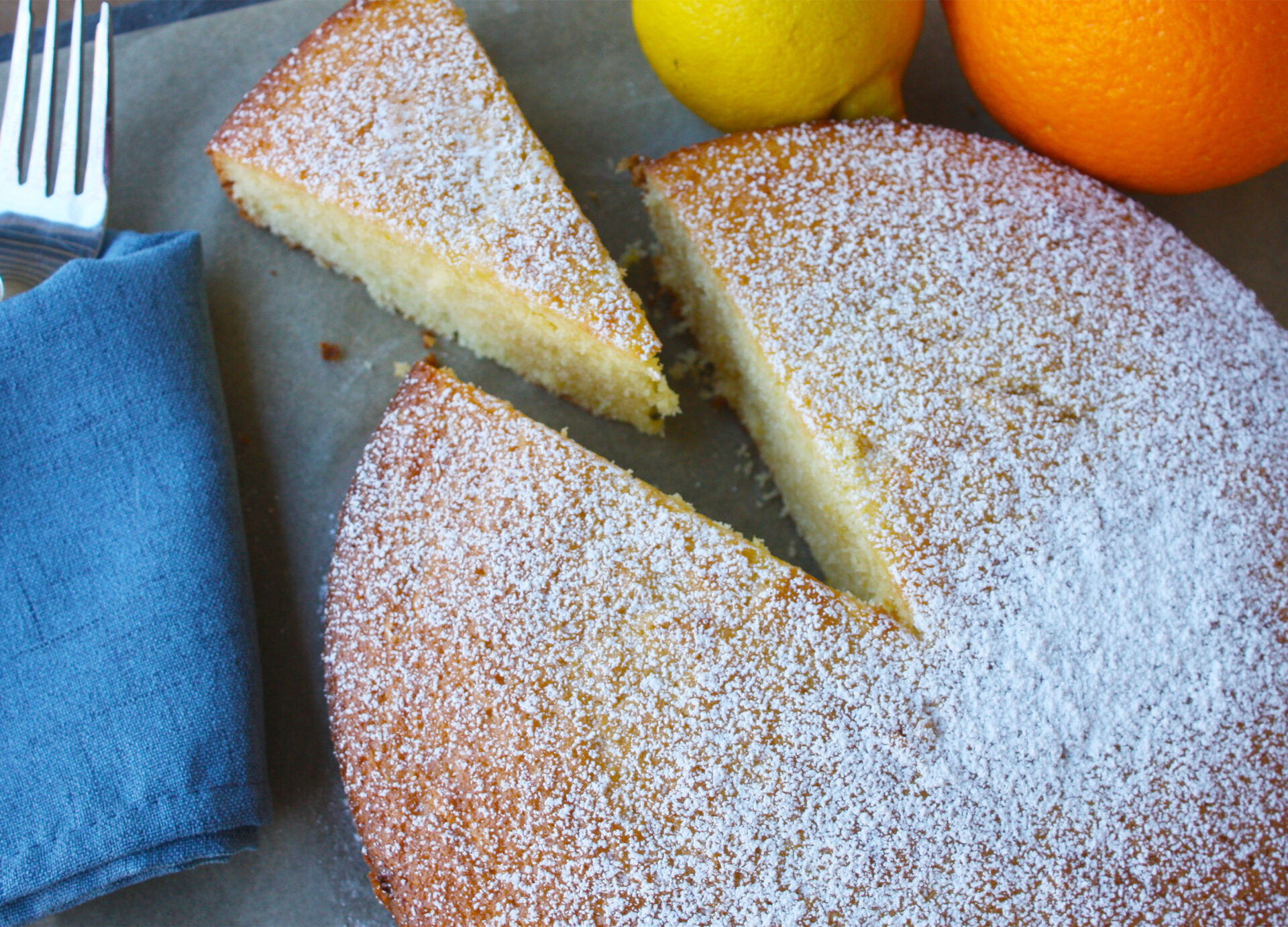 Overhead image of citrus olive oil cake | hearth health happiness
