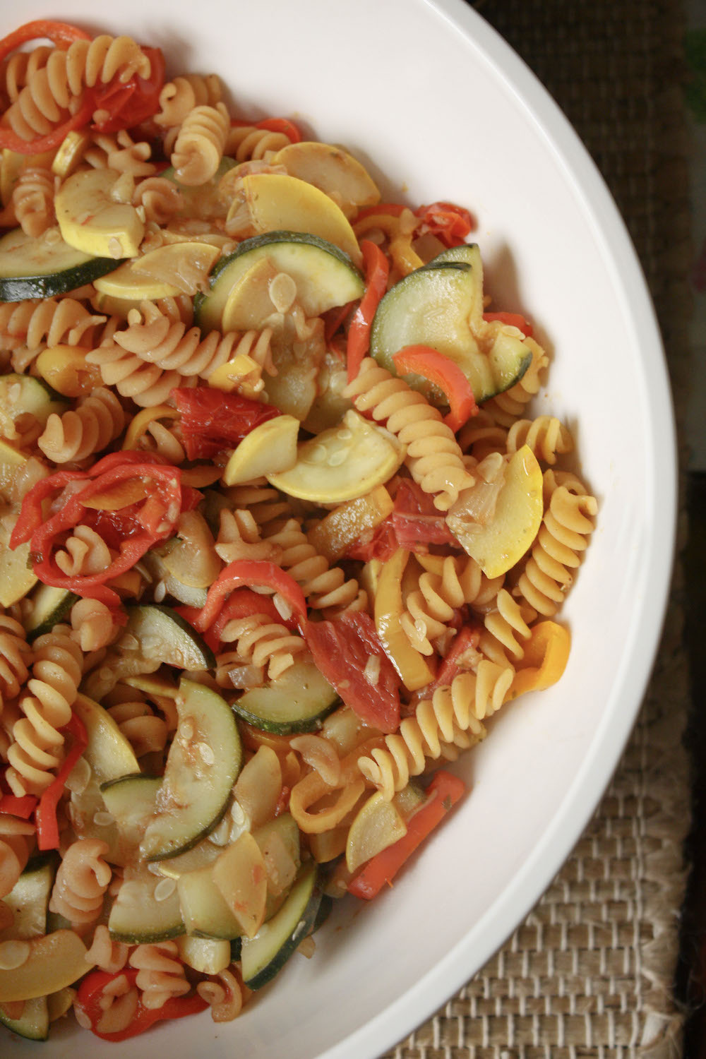 serving bowl with balsamic veggie pasta