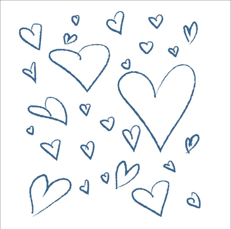 Handrawn hearts Pantone Classic Blue color 2020
