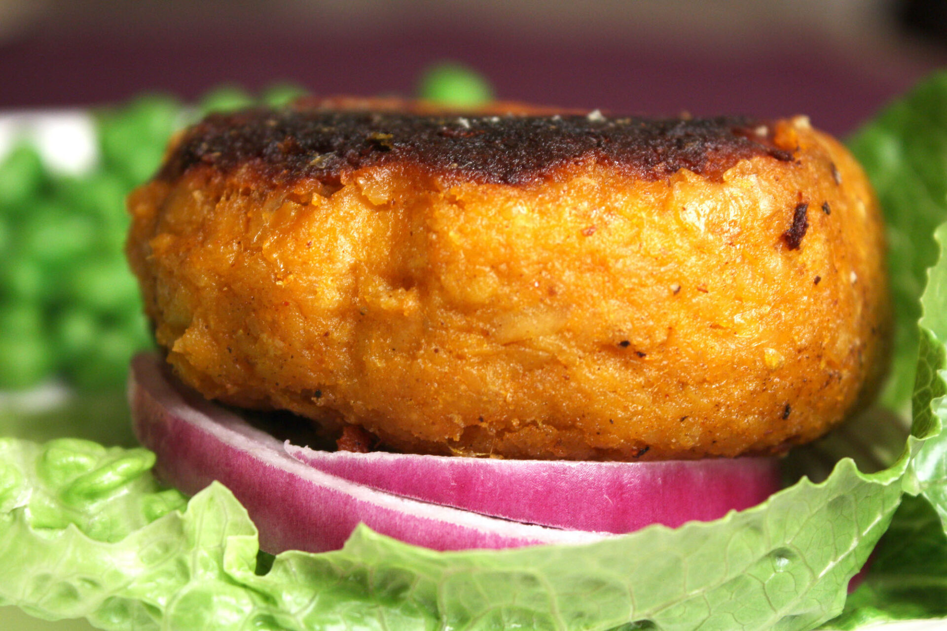 Side picture of a sweet potato burger | hearth health happiness