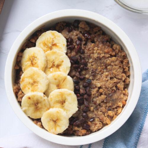 slow cooker banana coconut oatmeal | hearth health happiness