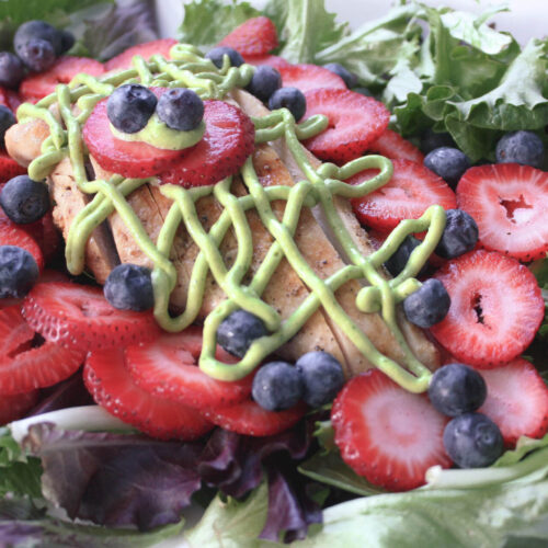 Summer Berry Salad with Grilled Chicken and Avocado Cilantro Lime Dressing   hearth health happiness