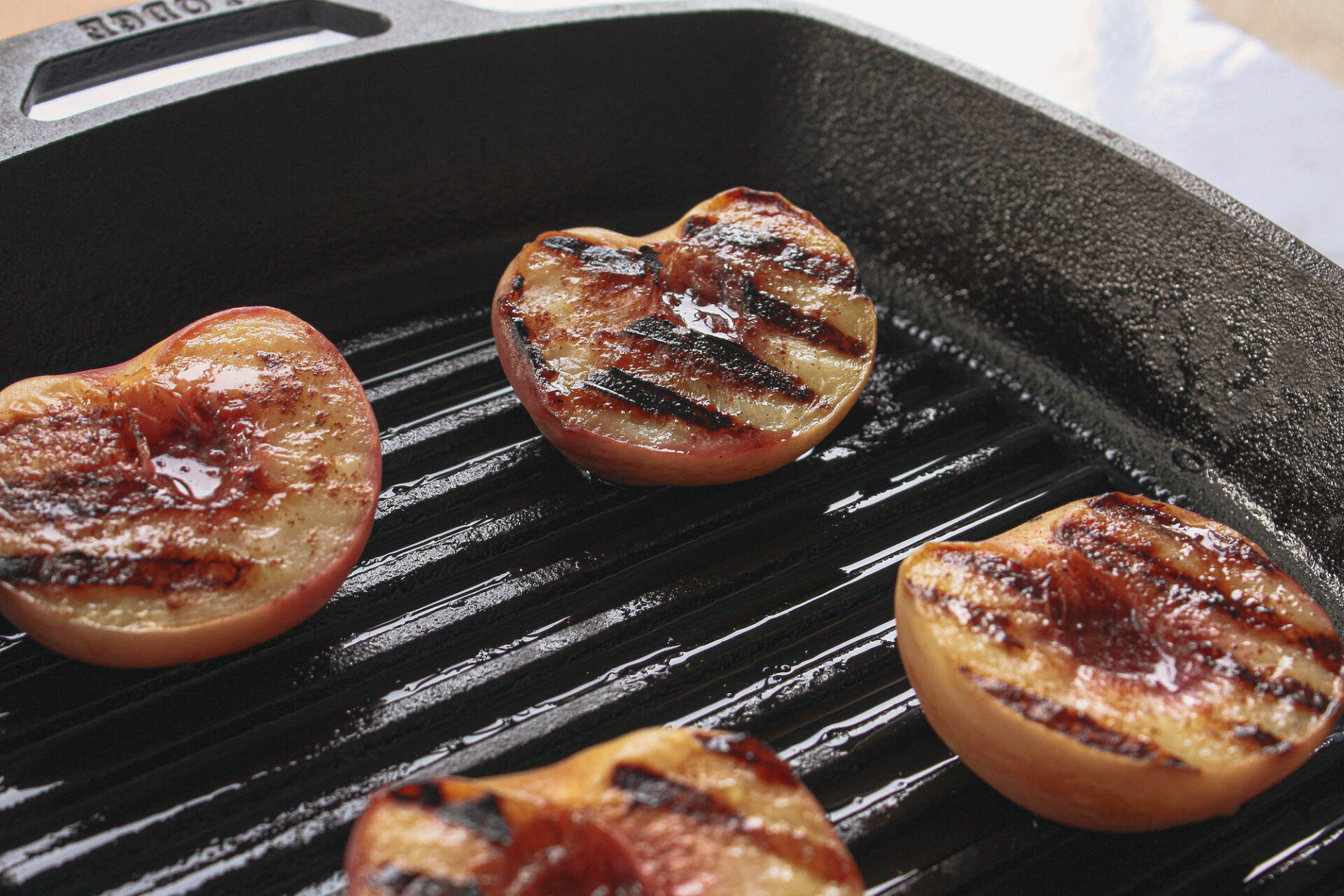 grill marks on peaches | flexitarian diet | hearth health happiness