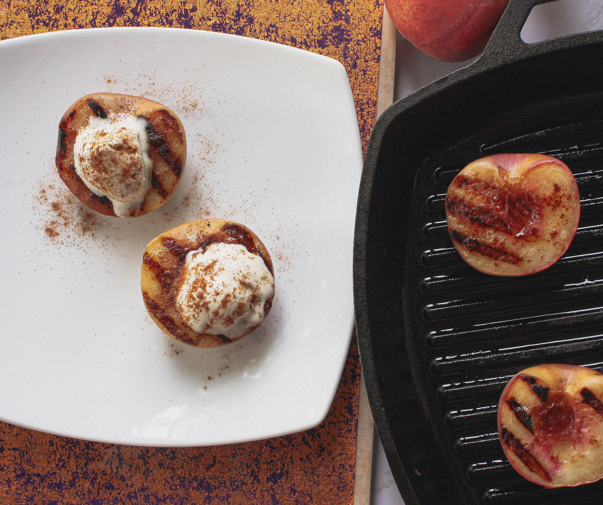 grilled peaches with ice cream | food blog | hearth health happiness