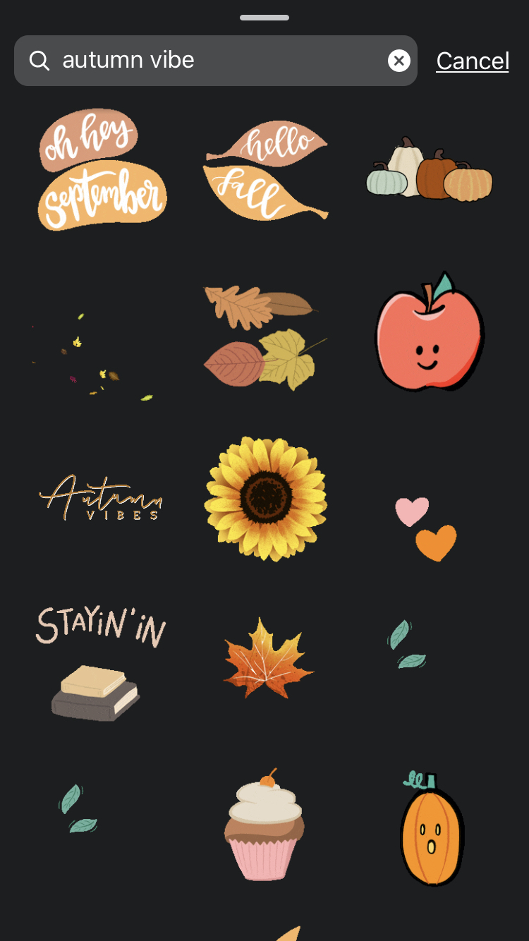 autumn vibe instagram story stickers   lifestyle   hearth health happiness