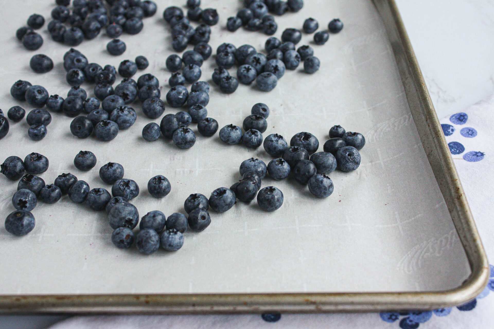 fresh blueberries on parchment-lined baking sheet | food blog | hearth health happiness