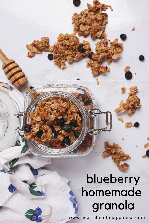 pinterest pin of blueberry homemade granola flatlay | food blog | hearth health happiness