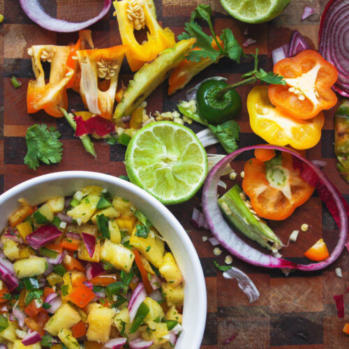 pineapple salsa and scraps   food blog   hearth health happiness