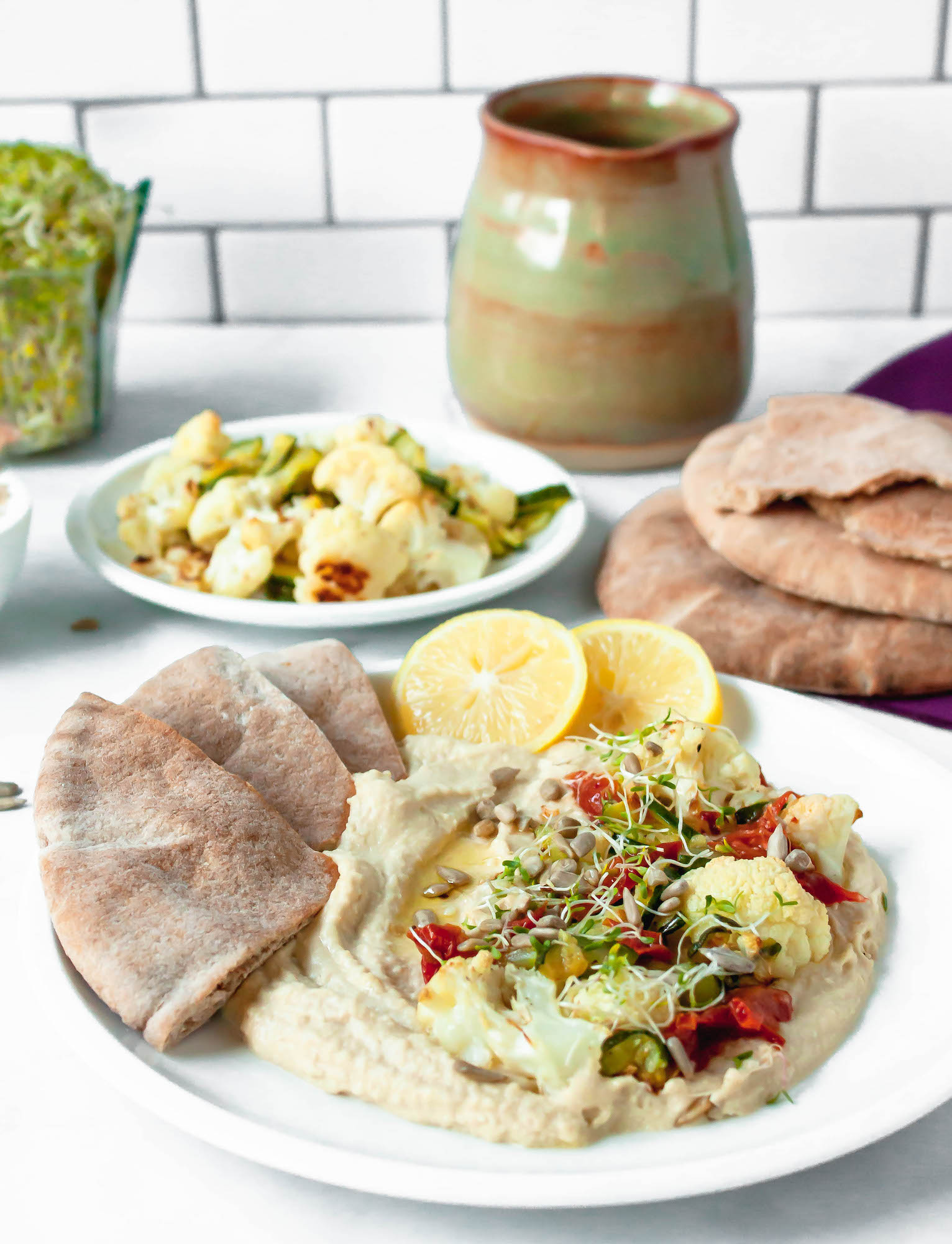 sunflower seed veggie hummus bowl | food blog | hearth health happiness