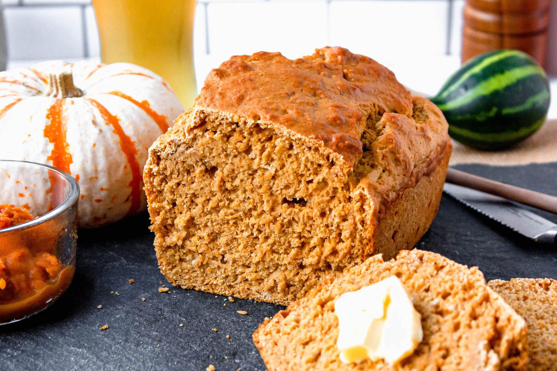 close up of cut pumpkin beer bread | food blog | hearth health happiness