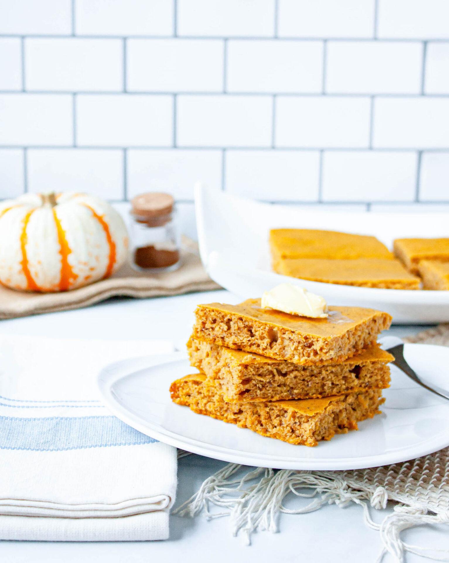stack of pumpkin spice sheet pan pancakes | food blog | hearth health happiness