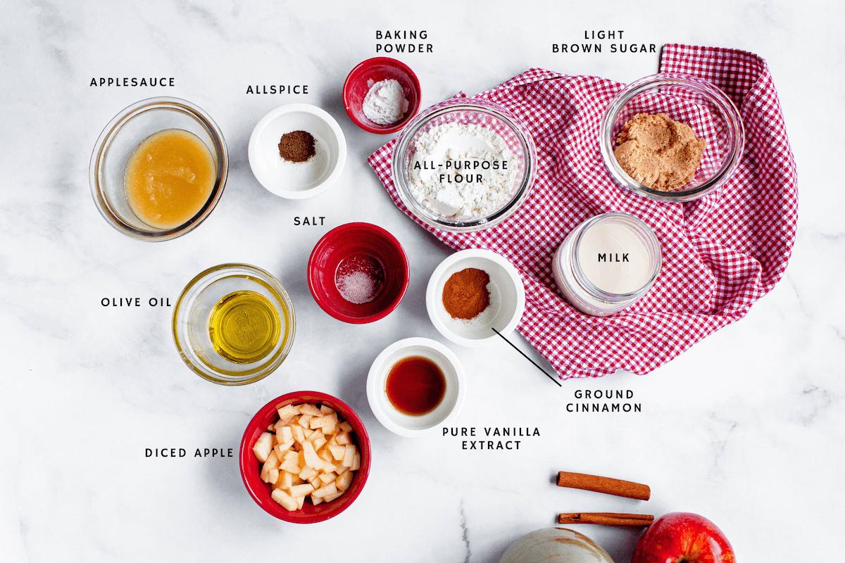 overhead image of apple cinnamon mug cake ingredients