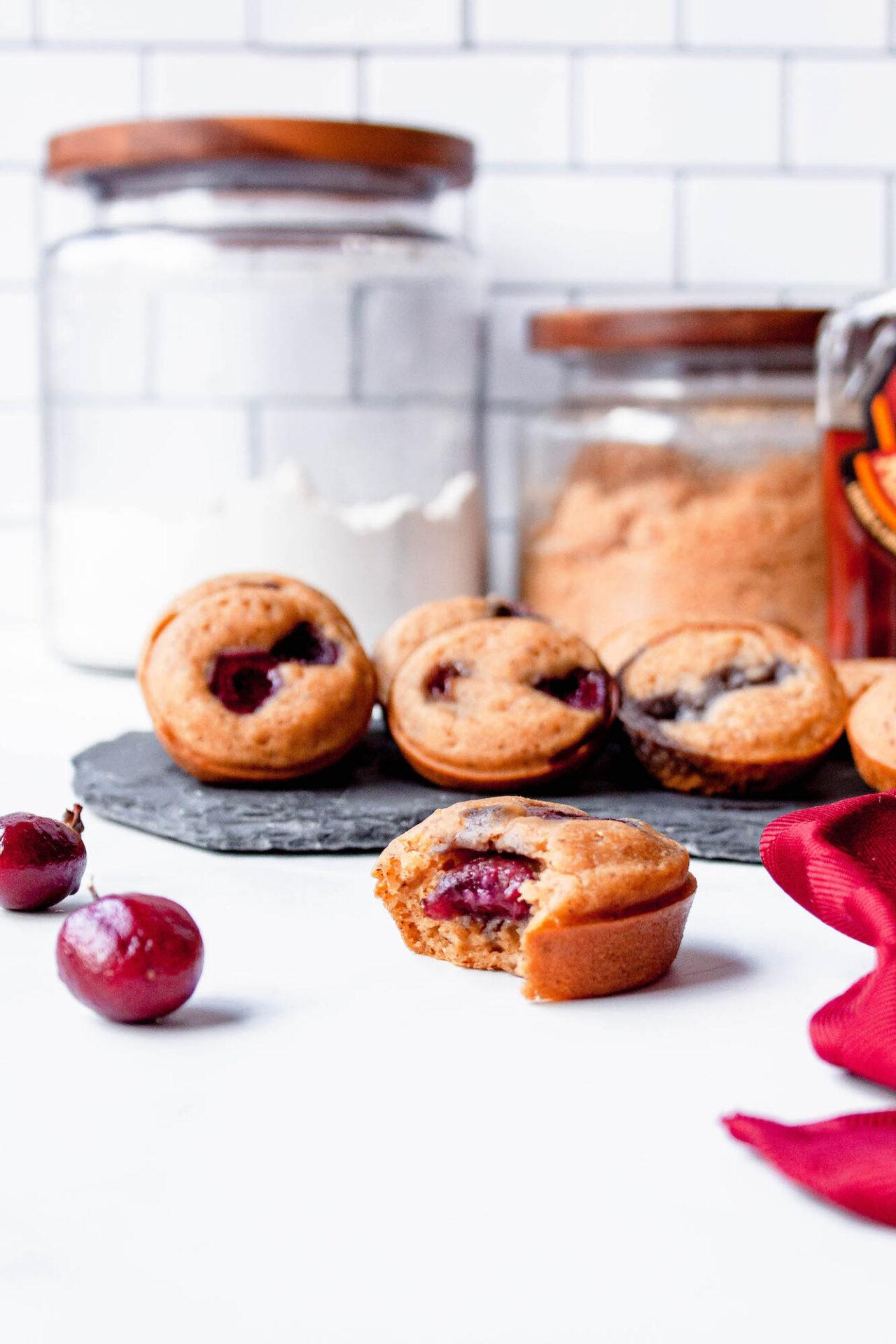 cherry mini pancakes on counter