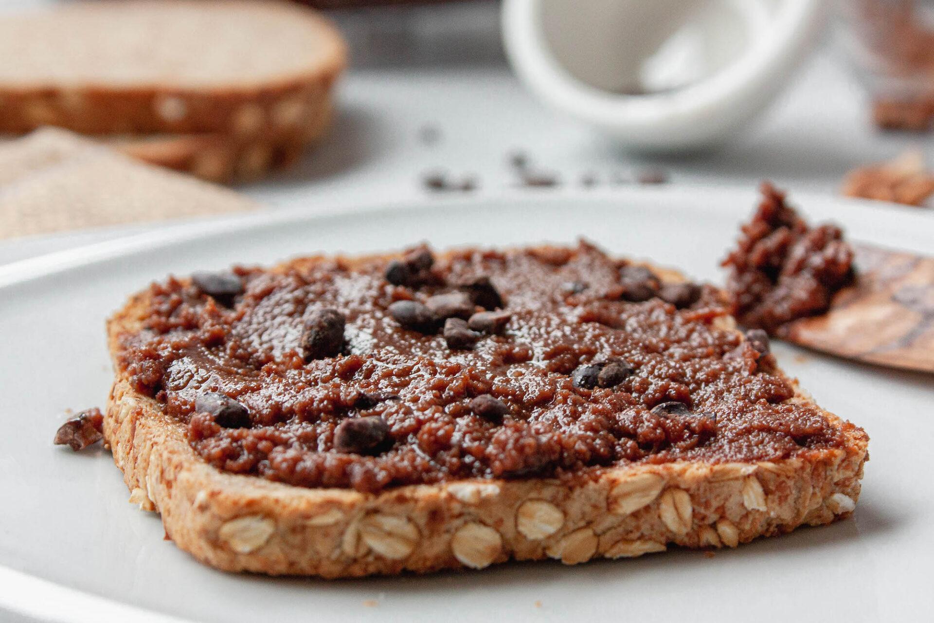 chocolate pecan butter spread on toast   flexatarian recipe