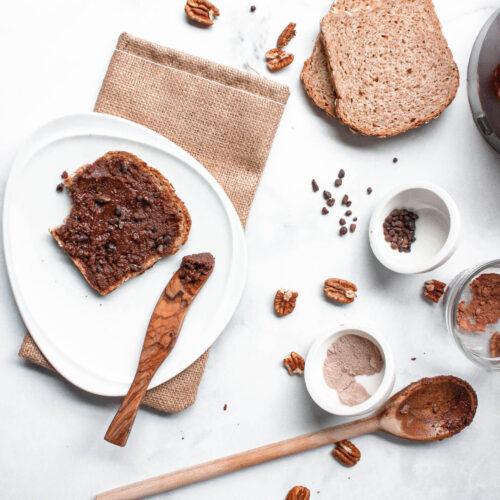 overhead image of chocolate pecan butter on toast   flexatarian recipe