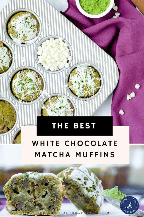 white chocolate matcha muffins pinterest pin