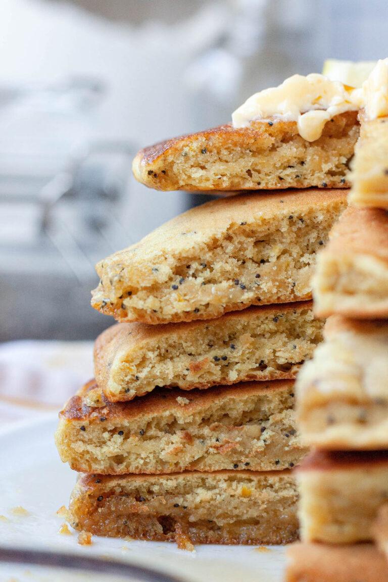 lemon poppy seed pancake stack cross section