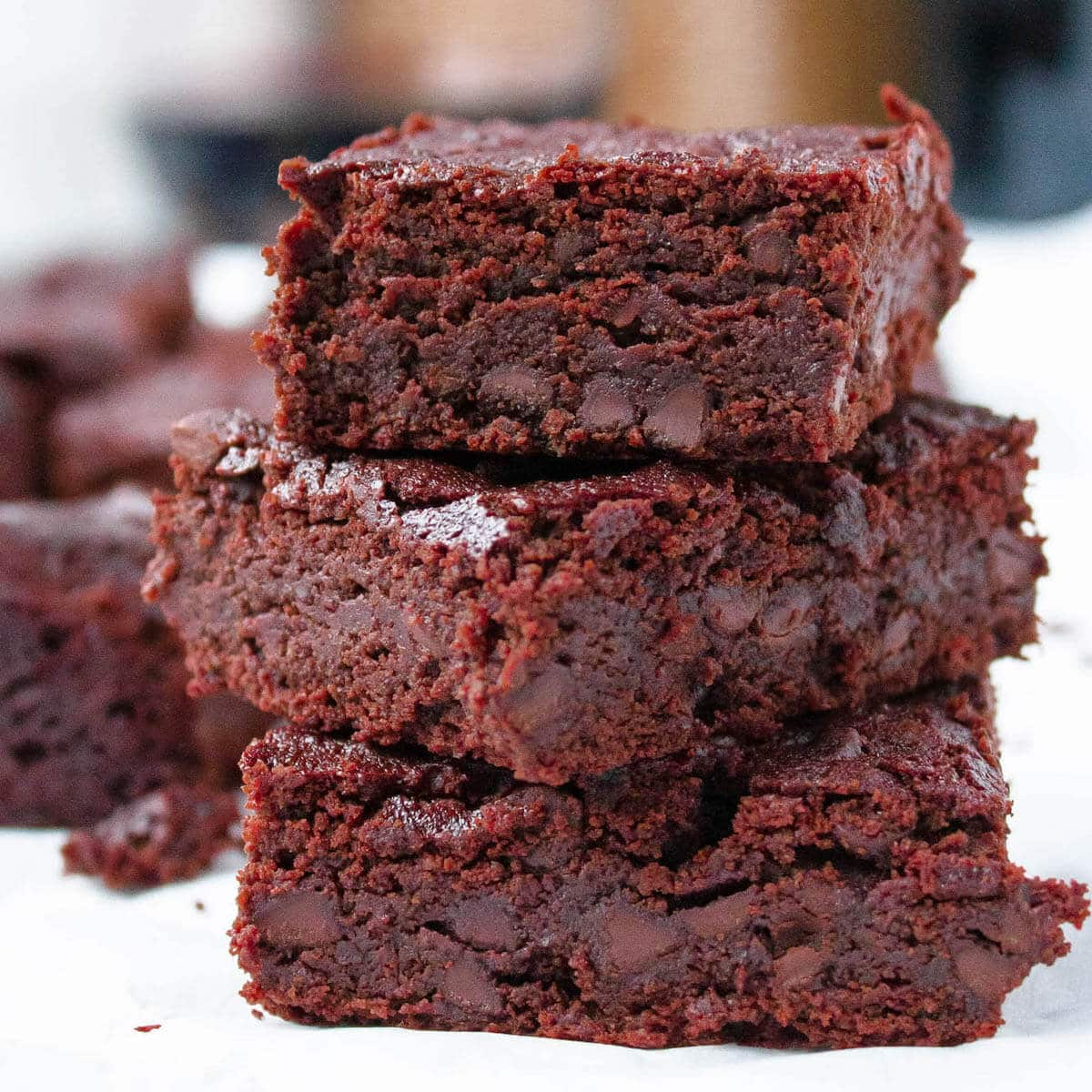 red wine brownies stacked