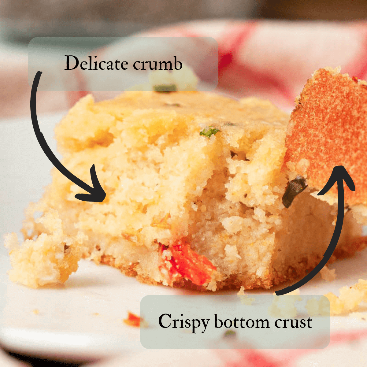 single piece of plant-based cornbread with bite on fork